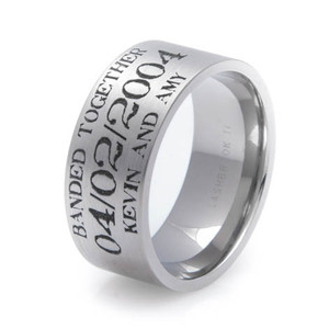 Men's Laser-Carved Titanium Rustic Duck Hunting Wedding Band