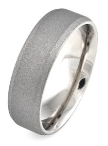 Men's Beveled Edge Titanium Sandblasted Ring