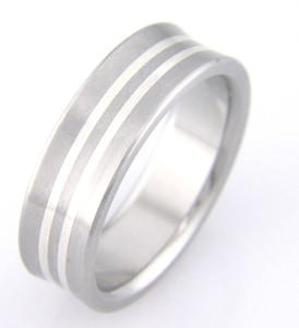 Titanium Scoop Ring with Dual Inlay