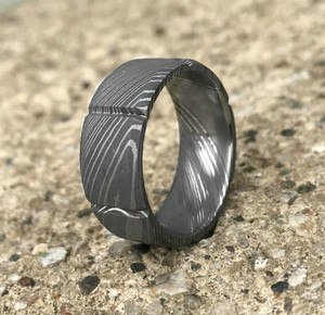 Men's Segmented Damascus Steel Ring