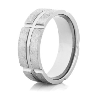 Men's Segmented Gunmetal Titanium Western Wedding Band