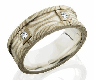 Men's Gold and Silver Mokume Gane Segmented Diamond Ring
