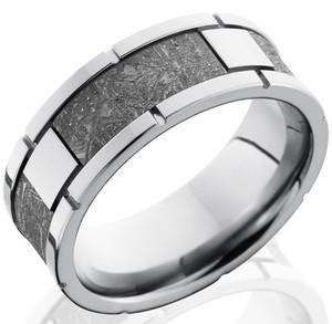 Men's Titanium Segmented Gibeon Meteorite Ring