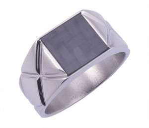 Signet Ring with Carbon fiber