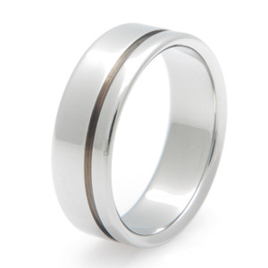 Simple Titanium Ring with Offset Groove
