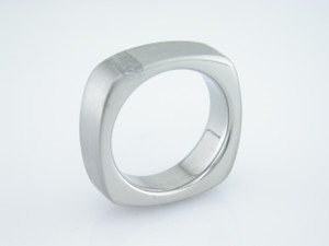 Men's Titanium Square Gibeon Meteorite Ring