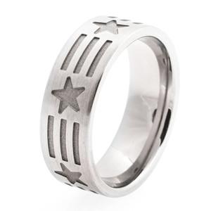 Men's Titanium Stars and Stripes Ring