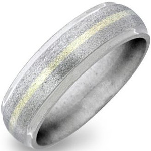 Dome Profile Stone Finish Titanium Gold Band