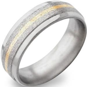 Stone Finish Titanium Ring with Gold