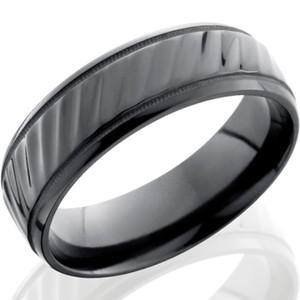 Milled Edge Striped Black Zirconium Ring