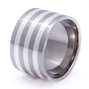 Super Wide Titanium and Sterling Silver Inlay Ring