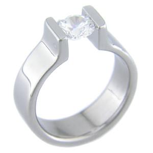 Tension Set Titanium Ring
