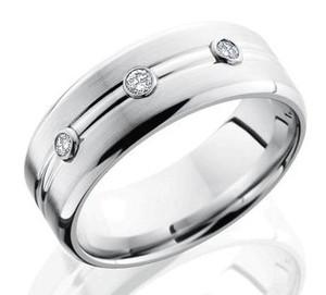 Men's Cobalt Chrome Three-Diamond Wedding Band