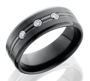Black Zirconium Ring with Bezel Set Diamonds