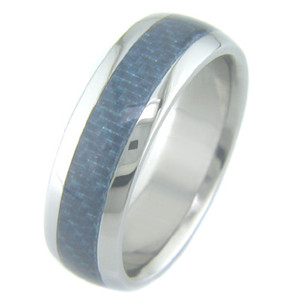 Men's Titanium and Blue Carbon Fiber Ring