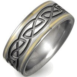 Titanium and Gold Celtic Knot Ring