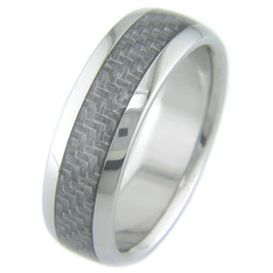 Men's Gunmetal Titanium and Carbon Fiber Ring
