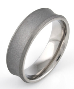 Men's Concave Titanium Sandblasted Ring