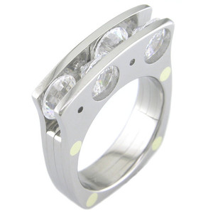 Men's Titanium Quad Stone Ring