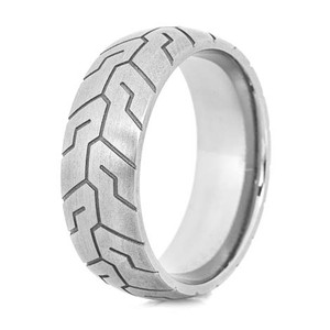 Men's Titanium Tire Tread Ring