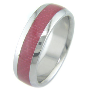 Men's Titanium Ring with Red Carbon Fiber Inlay