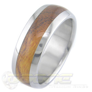 Men's Dome Profile Titanium and Desert Ironwood Ring