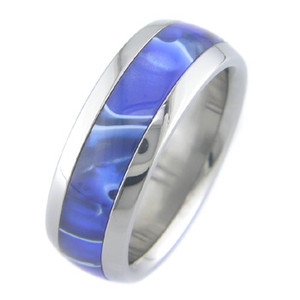 Titanium Blue Stone Ring