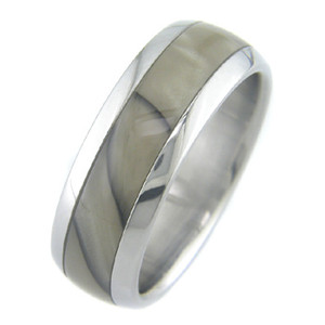 Titanium Swirling Caramel Ring