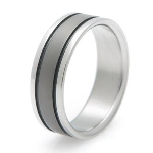 Titanium Ring with Sable Finish and Black Grooves