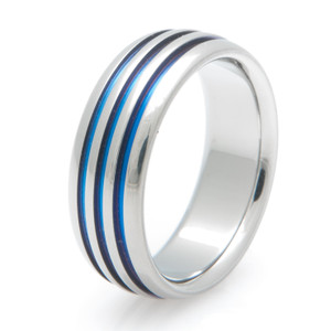 Titanium Ring with Triple Blue Grooves