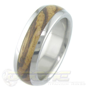 Men's Dome Profile Titanium and Zebrawood Ring
