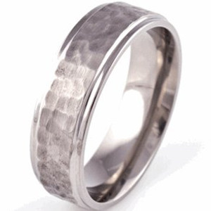 Grooved Edge Flat Profile Titanium Hammered Ring