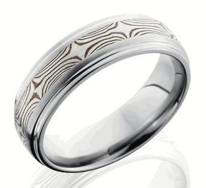 Titanium Ring with Sterling and Shakudo Mokume Gane