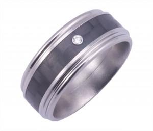 Men's Round Edge Titanium and Carbon Fiber Diamond Ring