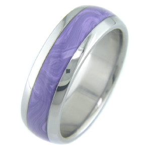 Titanium with Charoite Stone Inlay