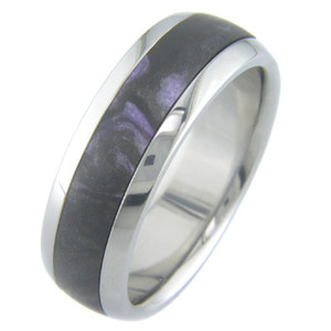 Titanium Ring with Black Violet Inlay