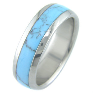 Titanium with Turquoise Inlay