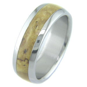Men's Dome Profile Titanium and Burled Kentucky Coffee Wood Ring