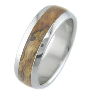 Men's Dome Profile Titanium Burled Red Oak Ring
