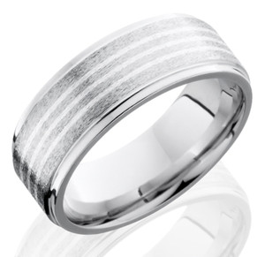 Men's Stone Finish Cobalt Ring with Triple Sterling Silver Inlays