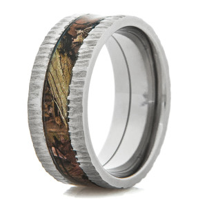 Men's Titanium Tree Bark Camo Ring