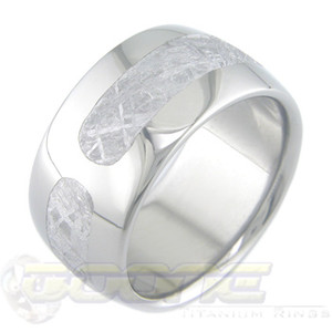 Men's Wide Titanium Tri-Sector Gibeon Meteorite Ring