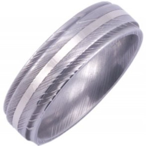 Men's Grooved Edge Damascus Steel Ring with White Gold Inlay