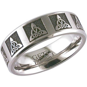 Men's Laser Engraved Trinity Knot Ring