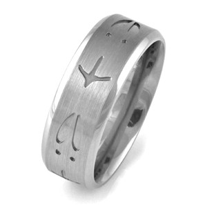 Men's Titanium Deer and Turkey Track Wedding Band