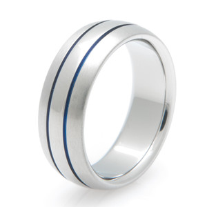 Men's Blue Inlay Two-Tone Titanium Ring