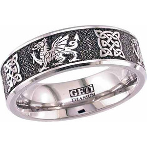Men's Laser-Carved Titanium Welsh Dragon Ring with Celtic Knots