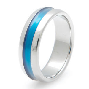 Titanium Wide Blue Wedding Band