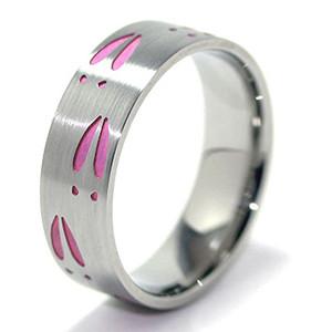 Women's Titanium Pink Deer Track Ring