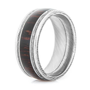 Men's Grooved Edge Damascus Steel Ring with Hardwood Inlay